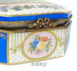 A Vintage Limoges Porcelain Hand Painted Jewellery/Jewel Casket