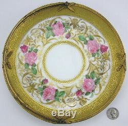 Ahrenfeldt Limoges Hand-Painted Roses Orchids Plate Basket Gold Encrusted Signed