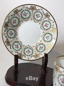 Amazing Hand Painted Jeweled Raynaud Limoges Jeweled Coffe Cup And Saucer