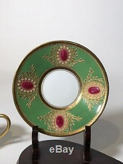 Amazing Raynaud Limoges Hand Painted Jeweled Coffee Cup And Saucer