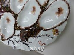 An old haviland limoges co oyster plate hand painted 5 oyster 8.75 inch diameter