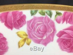 AntQ Ca 1910 Limoges T&V Cabbage Rose Hand Painted Punch Bowl With Pedestal