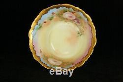 Antique 100% Hand Painted Floral T & V Limoges Mush Set Miniature Bowl & Pitcher