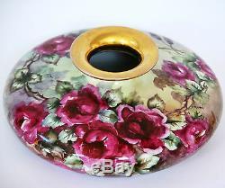 Antique 12,5 Vienna Austria Hand Painted Roses Squat Vase