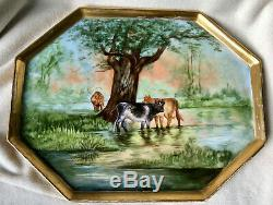Antique 15 Hand Painted Limoges Porcelain Cows Painting Tray, Signed Braunciser