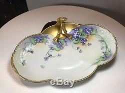 Antique 1901 Guerin Limoges France Bavaria Handled Tray Hand Painted Gold Floral