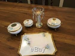 Antique 1910 GDA Limoges France (9) PC Handpainted Porcelain Dresser Set MINT