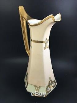 Antique 19c. Art Deco T&V Limoges Hand Painted GIANT 16-1/2 Pitcher Wine