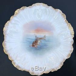 Antique 19c. Elite Limoges Entirely Hand Painted 13pc Fish Serving Set