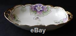 Antique A K D Limoges France Hand Painted Violets Handled Bowl Signed 7-1/4