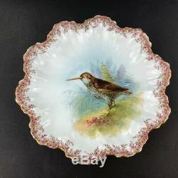 Antique A. Lanternier Limoges NINE (9) Gold Trim Hand-Painted Game Bird Plates