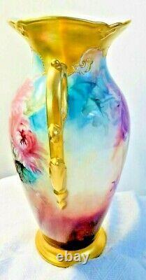 Antique Art Nouveau Hand Painted 13 Gold Vase Artist Signed Peonies Floral