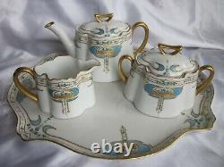 Antique Art Nouveau Hand Painted Tea Set Limoges / Bavaria Porcelain