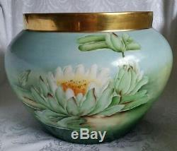 Antique B&c Limoges France Hand Painted Water Lilly Jardenier Ferner Planter