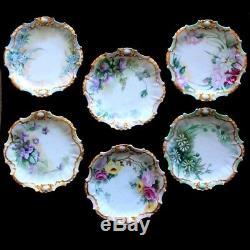 Antique COIFFE LIMOGES FRANCE Hand-Painted 6 Piece Floral Botanic PLATE SET