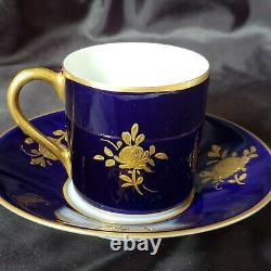 Antique Cobalt Blue &gold Limoges France Demitasse Cup&saucer Hand Painted