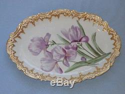 Antique Coiffe Limoges Porcelain Large Double Gold Handpainted Iris Platter