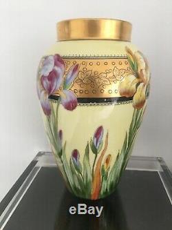 Antique D Co Limoges Hand Painted Vase Iris Flowers Gilt Rim Artist Signed 11