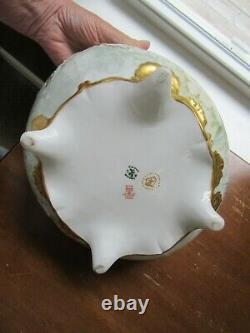 Antique Elite Limoges Gold Encrusted Hand Painted Center Footed Bowl 10.5 Roses