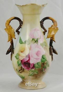 Antique Elite Limoges Hand Painted Rose Vase with Leaf Handles 10-1/4 France