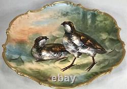 Antique Estate Limoges France Hand Painted Bird Birds Charger Plate Gold Gilt
