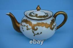 Antique Flambeau Limoges Individual Teapot Heavy Gold Hand Painted Creamer Sugar