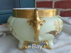 Antique France Hand Painted Forget Me Not Floral Porcelain Signed Jardiniere