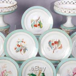 Antique French 18 Pc J. Petit School Limoges Old Paris Hand Painted Dessert Set