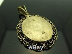 Antique French 1900 Sterling Gold Wash Hand Painted Enamel Woman Bird Locket