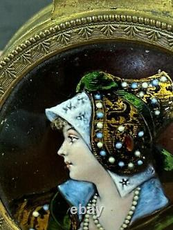 Antique French Hinged Bronze Box With Limoge Hand Painted Enamel Portrait