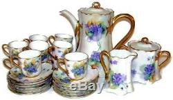Antique French Limoges Coffee Tea Set 29 Pieces Handpainted with Violets & Gold