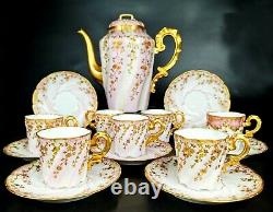 Antique French Limoges Hand-painted Tea/ coffee Set of 15 pieces, 1862-1900