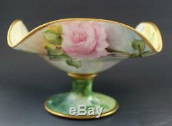 Antique French Limoges Porcelain Compote Pedestal Bowl Hand Painted Wild Roses