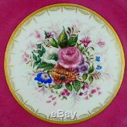 Antique French Limoges Porcelain Hand Painted Pink Dessert Plates Tray Set Gold