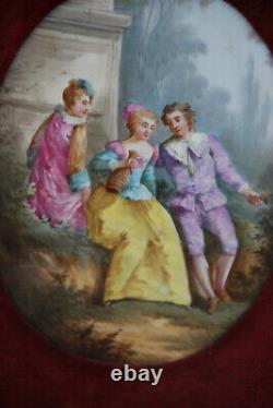 Antique French Limoges hand paint porcelain plaque medaillon in frame velvet