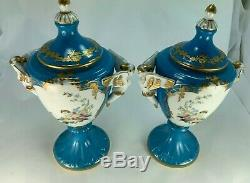 Antique French Pair of Limoges Hand Painted Cherub/Angel Putti Porcelain Urns