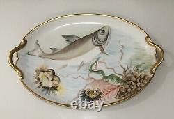 Antique Gda Limoges France Porcelain Hand Painted Fish Platter With Gold Trim