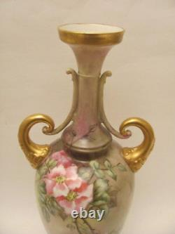 Antique Hand Painted 15.25 Roses Vase Early 1900s