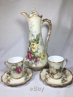 Antique Hand Painted B&H France CHOCOLATE POT & 2 CUPS with Pink/Yellow Roses
