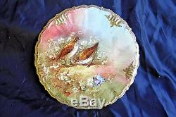 Antique Hand Painted Bas Signed 2 Quail Limoges France Cabinet Plate, Porcelain