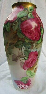 Antique Hand Painted Cabbage Roses PL LIMOGES France Signed Tappenbeck 13.5