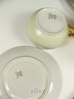 Antique Hand Painted Colorful Roses Tea Set Pot Creamer Sugar Cups & Saucers