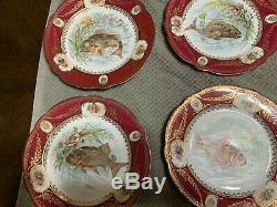 Antique Hand Painted Fish Set (Platter + 12 plates) please read description