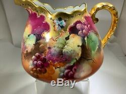 Antique Hand Painted Floral/Grape Pitcher by J & C Limoges For Pickard China