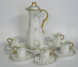 Antique Hand Painted Gilded Gda Ch. Field Haviland Limoges Chocolate Pot & Cup