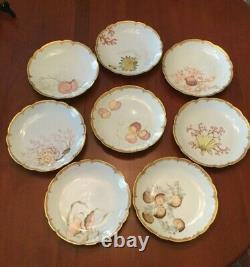 Antique Hand Painted Haviland Limoges Scalloped Shellfish Plates Set of 8
