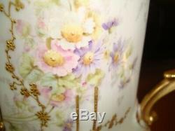 Antique Hand Painted Limoges Elite Chocolate Coffee Tea Pot, Flowers & Gold