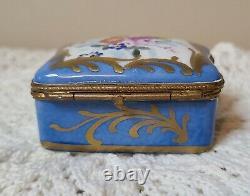 Antique Hand Painted Limoges Floral Gilt Trim Trinket Vanity Box Signed