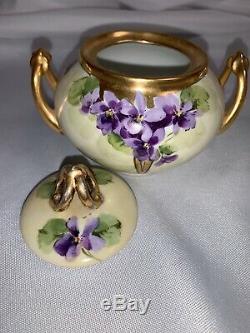 Antique Hand Painted Limoges France Jul. H. Brauer Purple Floral Creamer Sugar