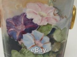 Antique Hand Painted Limoges Guerin Cache Pot Vase Petunia Decoration 1900